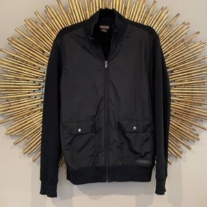 Michael Kors Black Satin Front Cotton Zip Bomber
